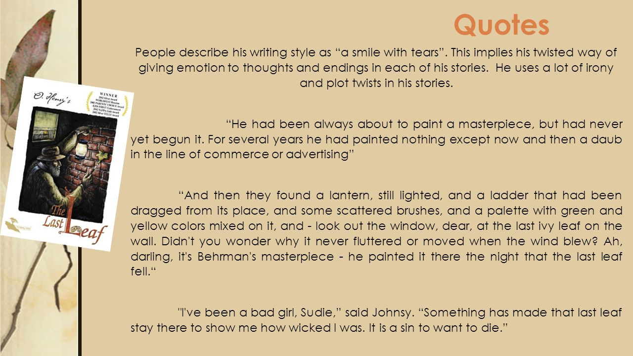 summary of the story the last leaf by o henry