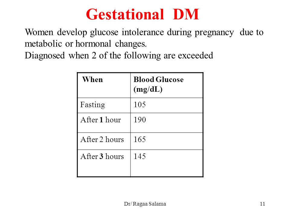 Gestational DM Women develop glucose intolerance during pregnancy due to  metabolic or hormonal changes.
