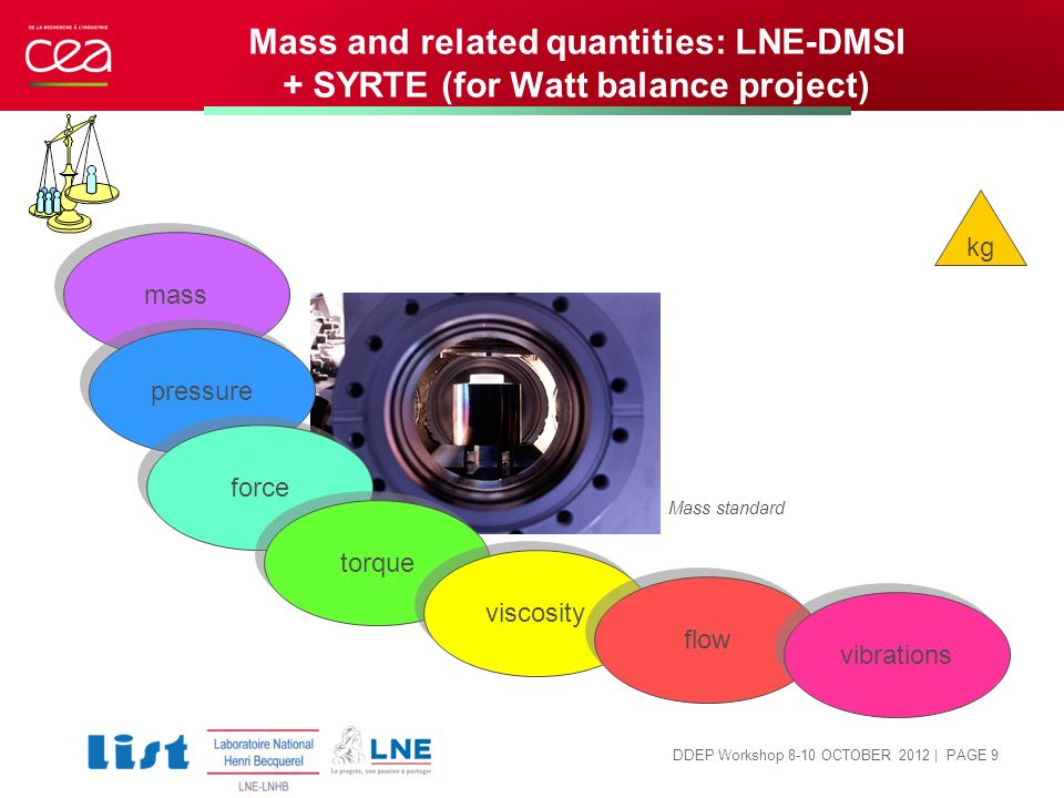Mass and related quantities: LNE-DMSI