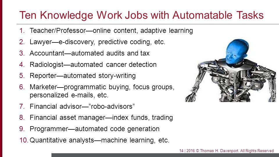 Ten Knowledge Work Jobs with Automatable Tasks