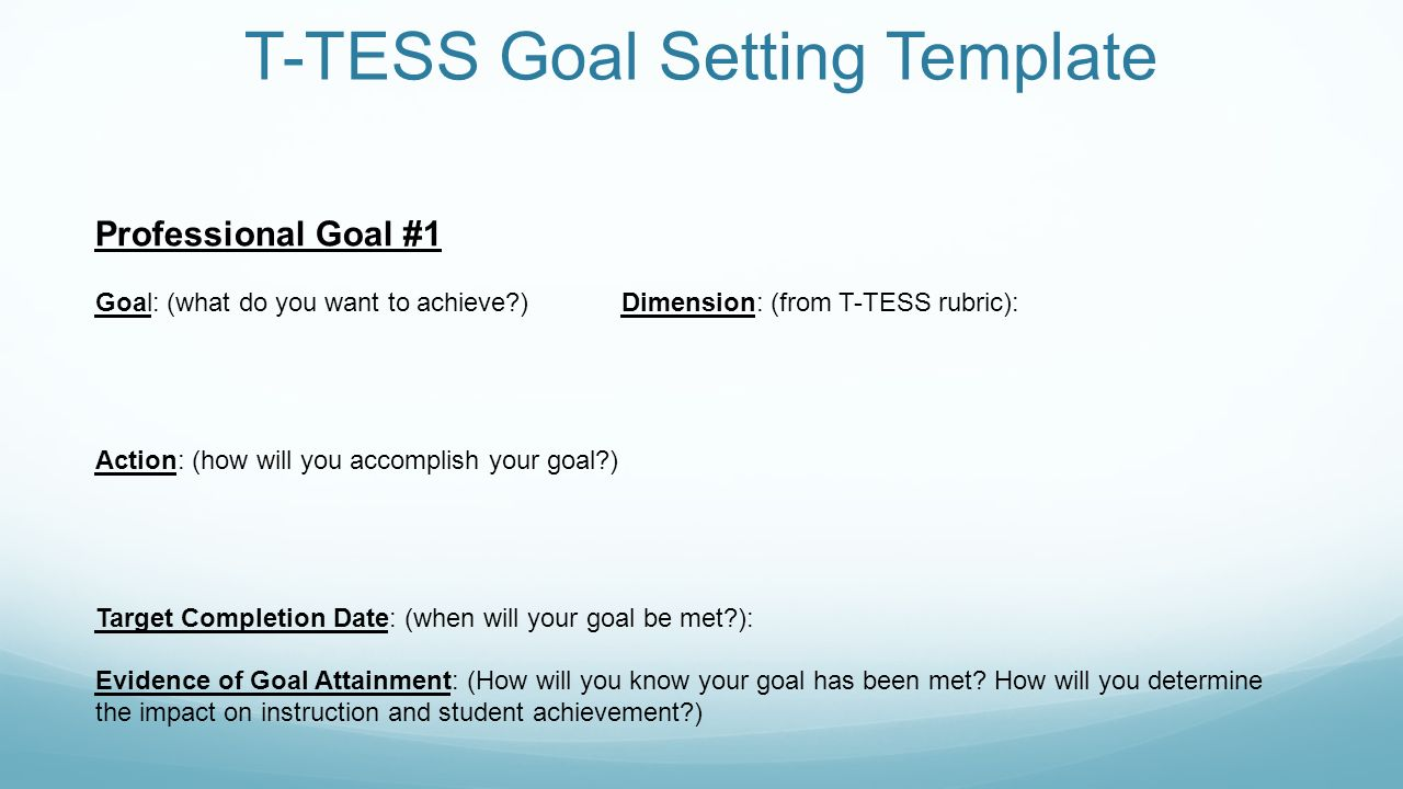 Setting Your Goals For TTESS Memorial HS Training September