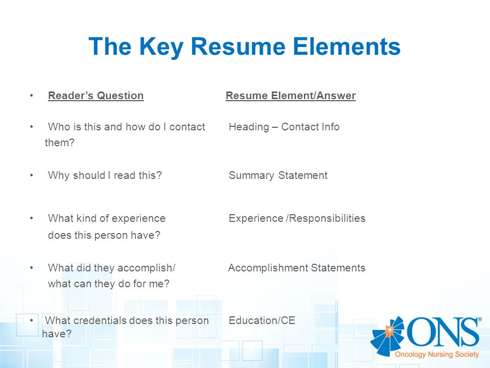 Key Elements Of A Resume   vvengelbertnl