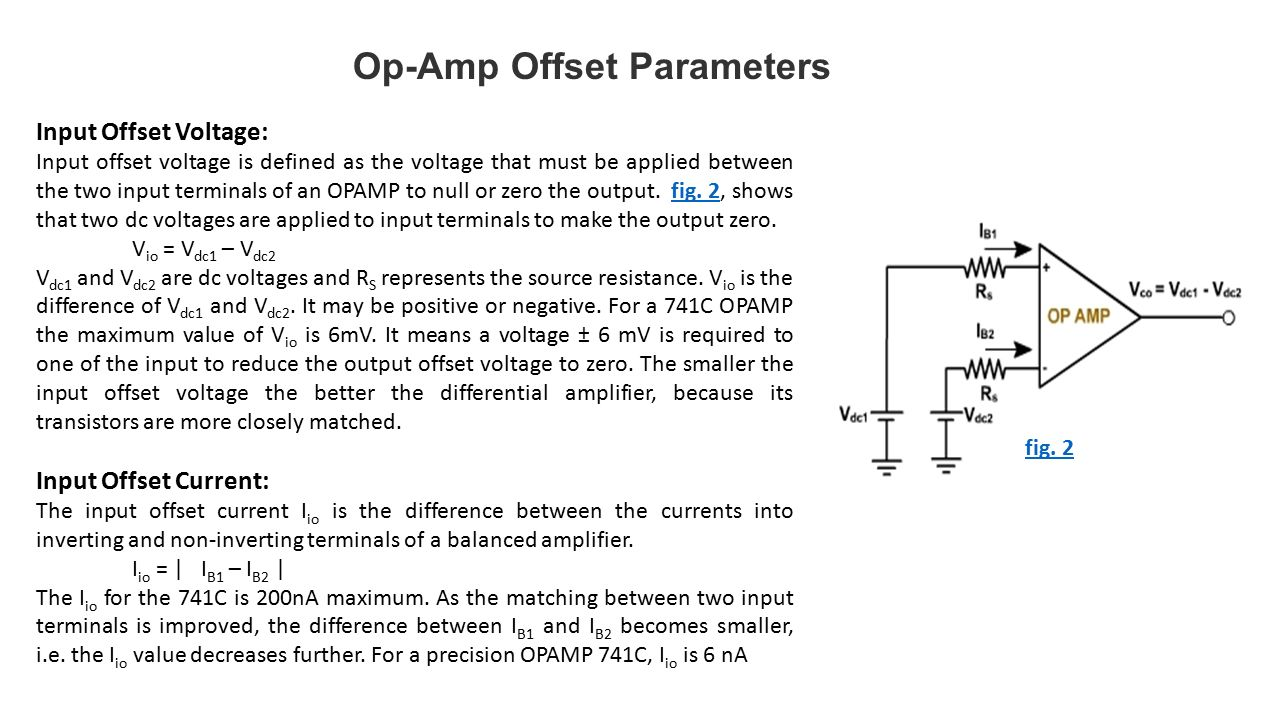 Operational Amplifiers Ppt Video Online Download To Be Current Amplified By The Following Amplifier Circuit Op Amp Offset Parameters