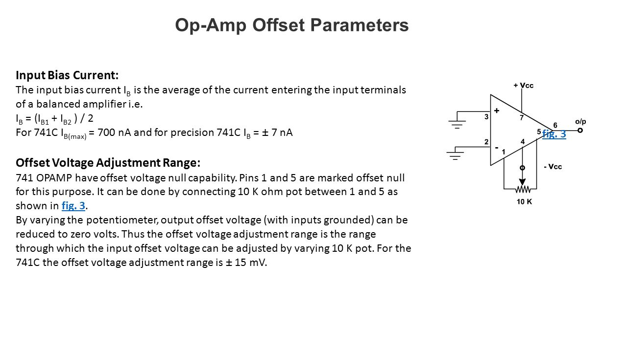 Operational Amplifiers Ppt Video Online Download 741 Op Amp Diagram 19 Offset Parameters