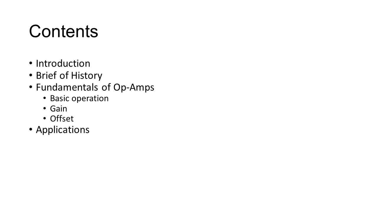 Operational Amplifiers Ppt Video Online Download Op Amp Single Supply Opamps In Series Electrical Engineering Contents Introduction Brief Of History Fundamentals Amps