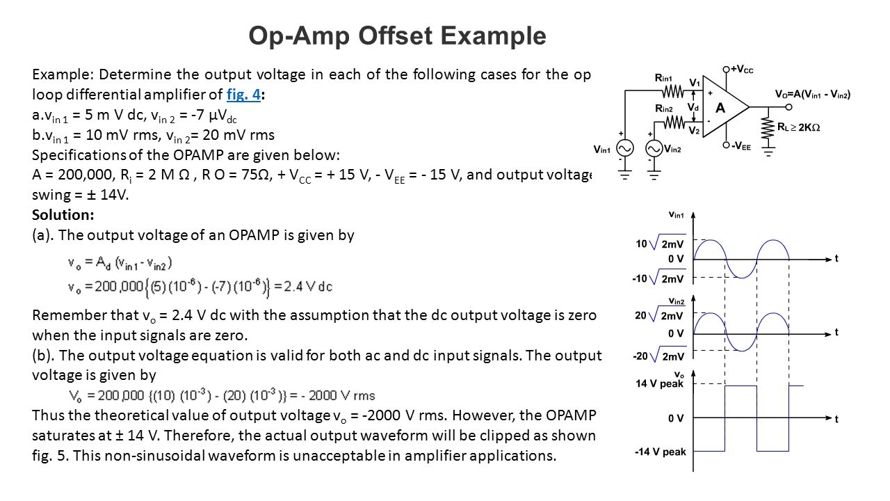 Operational Amplifiers Ppt Video Online Download The Opamp Circuit Is A Current Amplifier Find Currentgaini0 I 20 Op Amp Offset Example Determine