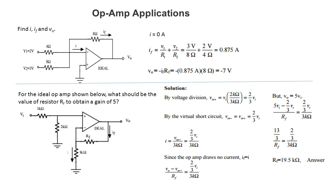 Operational Amplifiers Ppt Video Online Download Small Transistor Amplifier Ideals Op Amp Applications Find I If And Vo 0 A