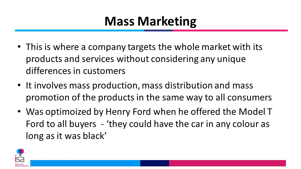 What is mass marketing example.