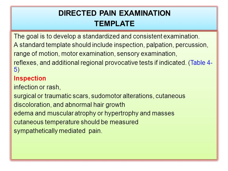 Physical Examination Of The Patient With Pain Ppt Video Online