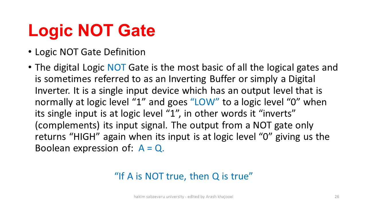 Ppt Download As The Gate Circuit Of Input And It Is Known Or Not 26 Logic Definition Digital
