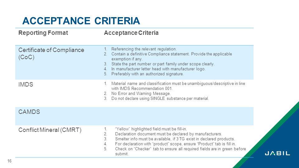 ACCEPTANCE CRITERIA Reporting Format Acceptance Criteria