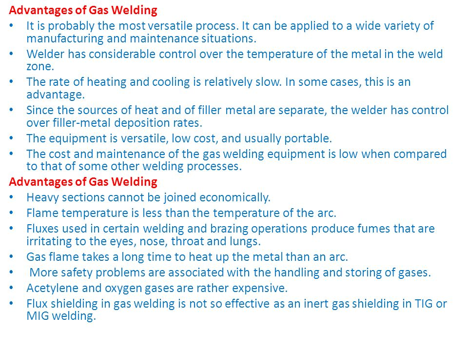 Advantages of Gas Welding