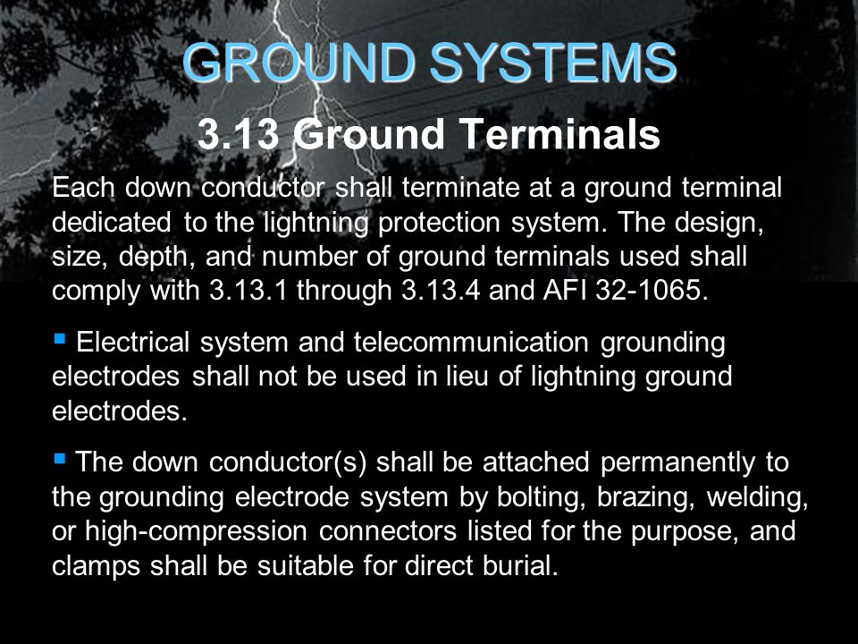 Lightning protection for air force facilities ppt download 86 ground systems 313 ground terminals each down conductor keyboard keysfo Choice Image