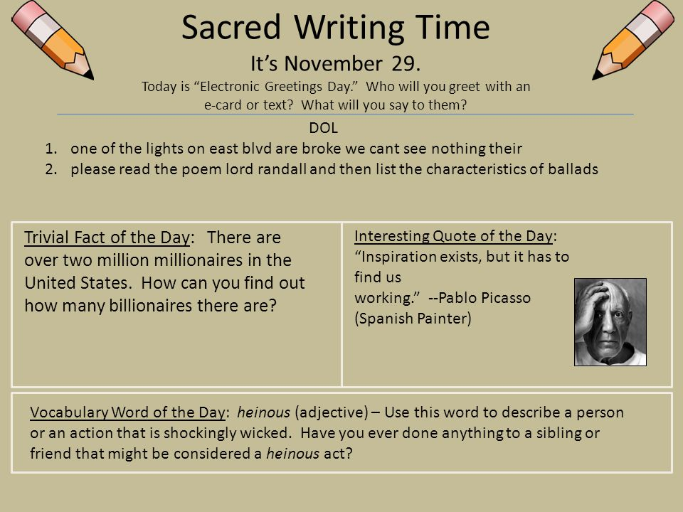 Sacred writing time its november 1 today is national authors day 29 sacred m4hsunfo