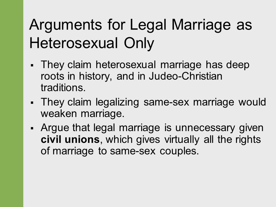 same sex marriage arguments essay Included: same sex marriage essay content preview text: the argument for or against same sex marriage(ssm) has raged for several years in america and around the world some see same sex marriage as a legal civil right that is presently being denied to some who want to get married.