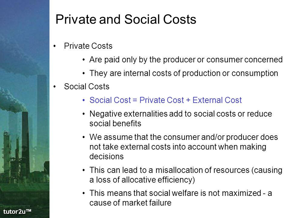 private costs and benefits definition