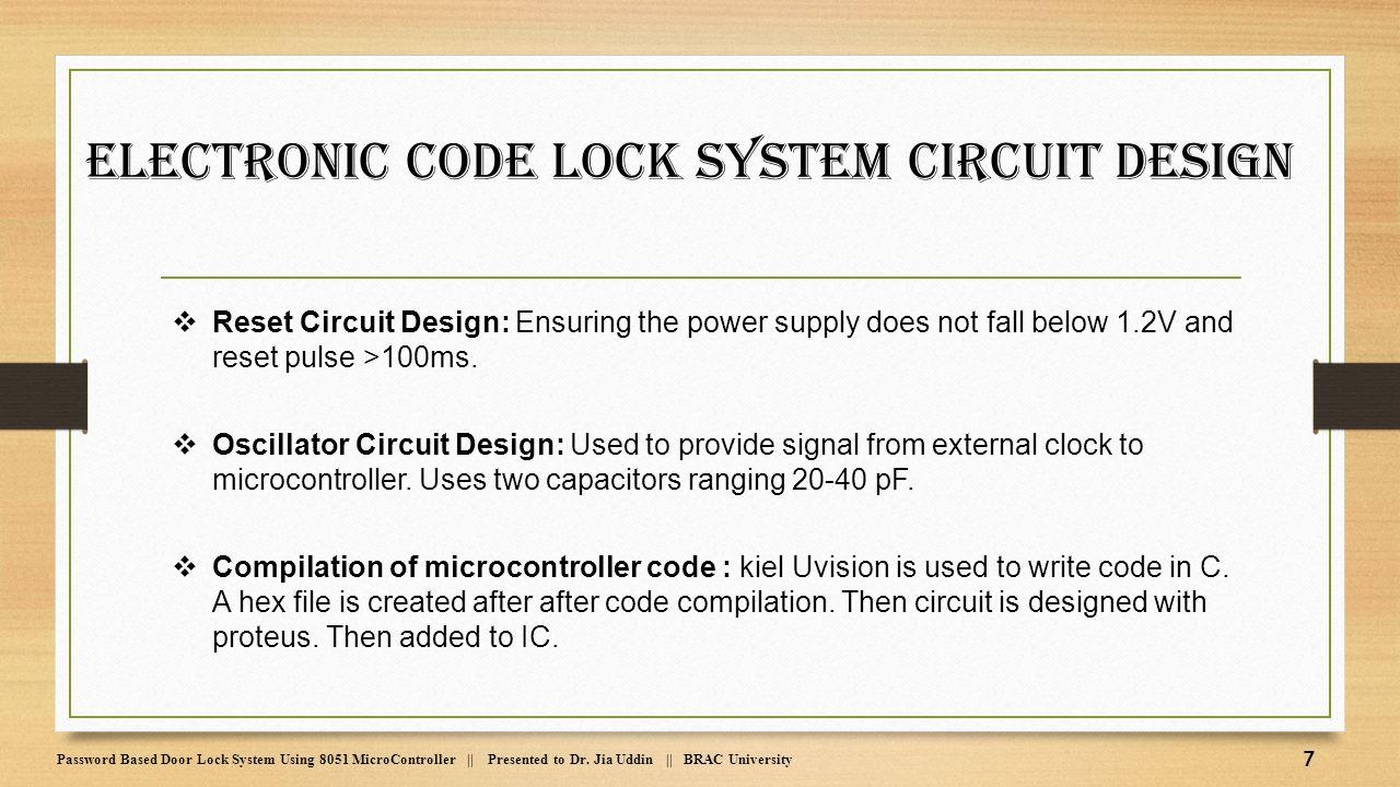 Password Based Door Lock System Using 8051 Microcontroller Ppt Electroniccombinationlockcircuitsingletransistor Electronic Code Circuit Design