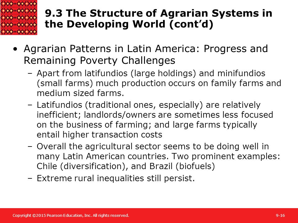 9.3 The Structure of Agrarian Systems in the Developing World (cont'd)