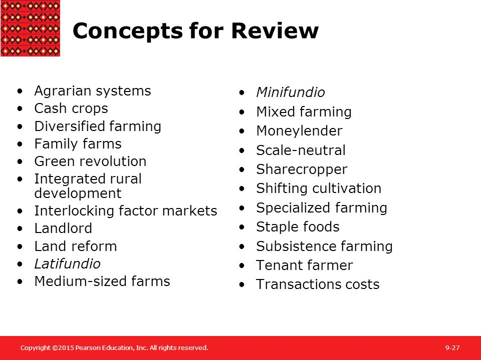 Concepts for Review Agrarian systems Cash crops Diversified farming