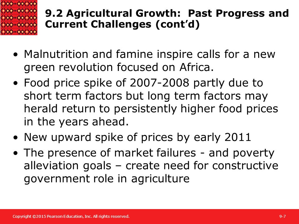 9.2 Agricultural Growth: Past Progress and Current Challenges (cont'd)