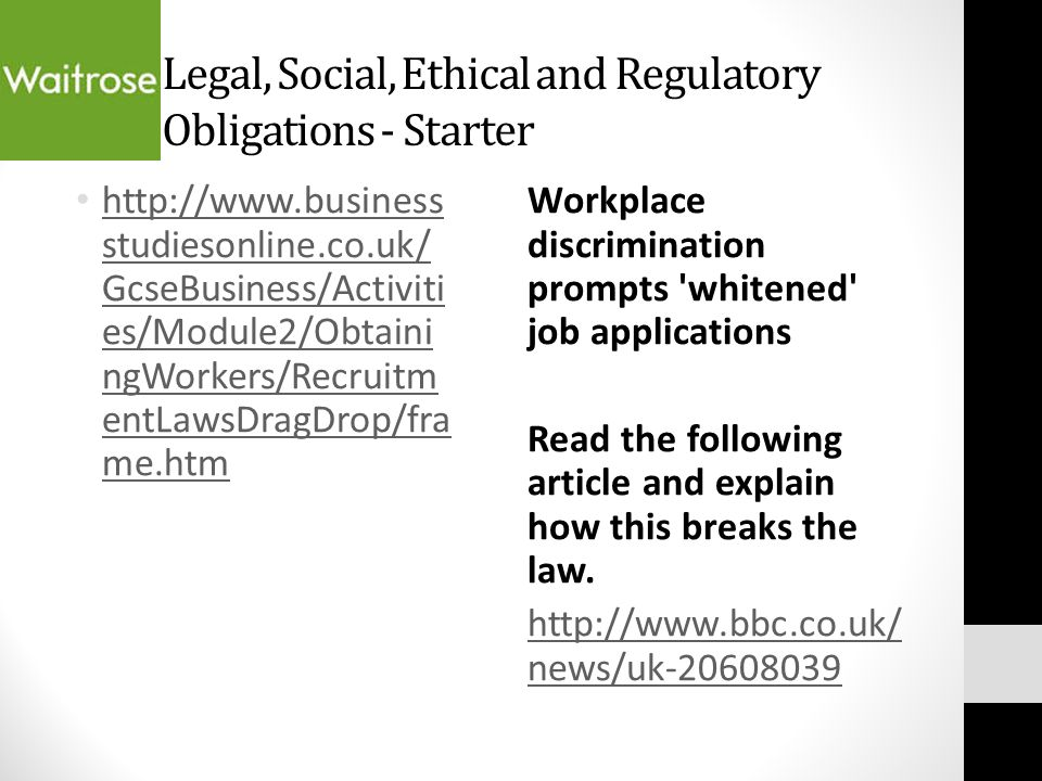 ethical analysis facial discrimination Discussions in ethics about employee health and safety tend to focus on the relative risks workers face and the level of acceptable workplace risk because: relative risks comparison of the probabilities of harm involved in various activities would determine the _____.