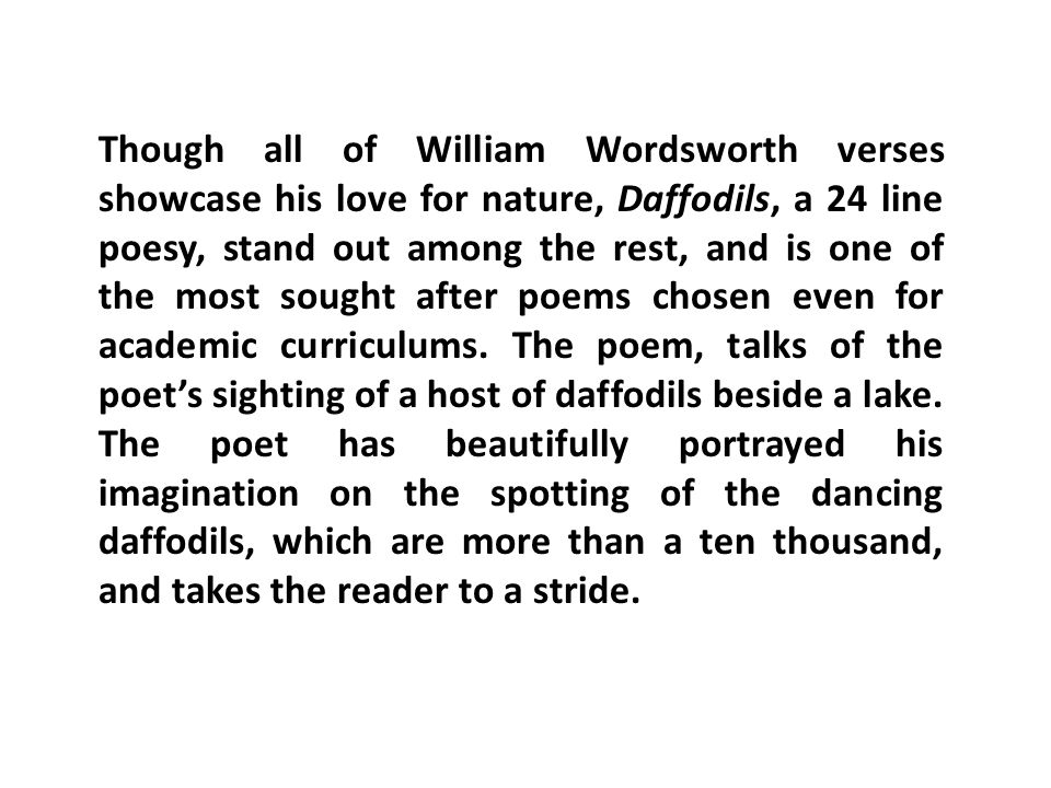 william wordsworth and his love for nature