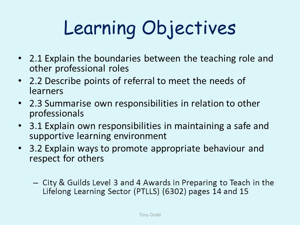 ptlls identifying and meeting the needs of learners The following are headings for broad areas students will have to research to show evidence of competence in ptlls group a: roles and responsibilities and relationships in lifelong learning.