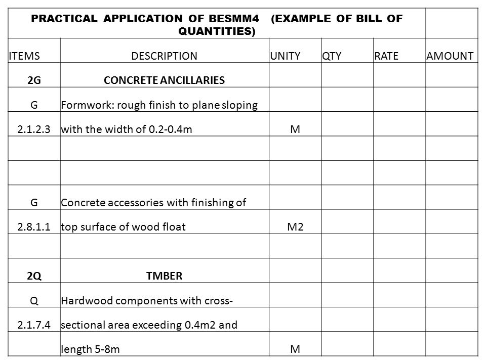 An evaluation of differences between besmm 3 cesmm3 and besmm 4 practical application of besmm4 example of bill of quantities thecheapjerseys Gallery