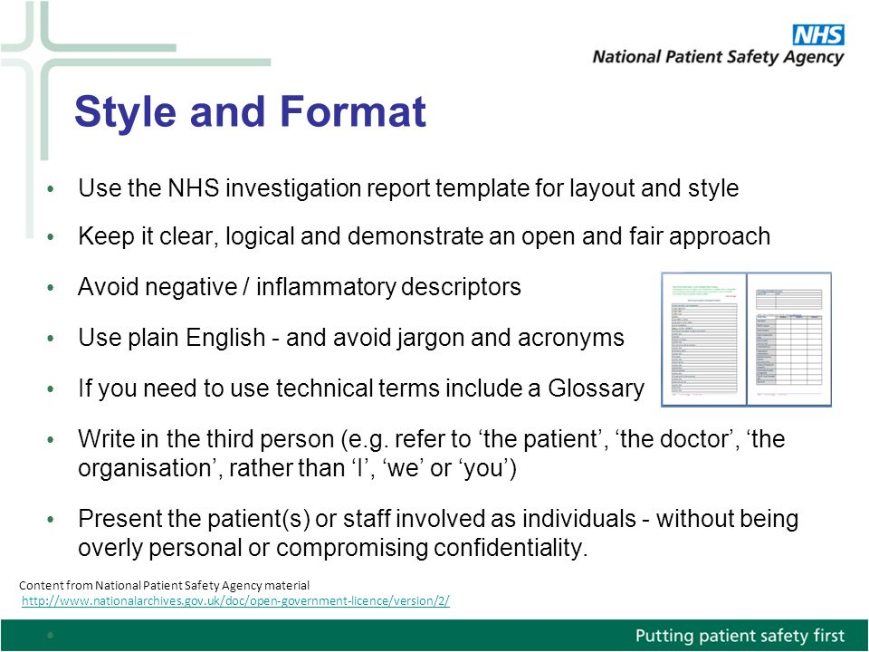 Style And Format Use The NHS Investigation Report Template For Layout Keep It