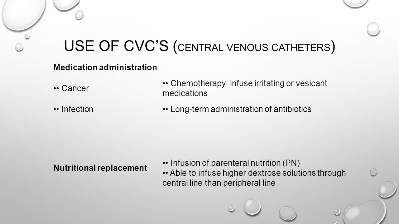 Use of CVC's (Central Venous Catheters)