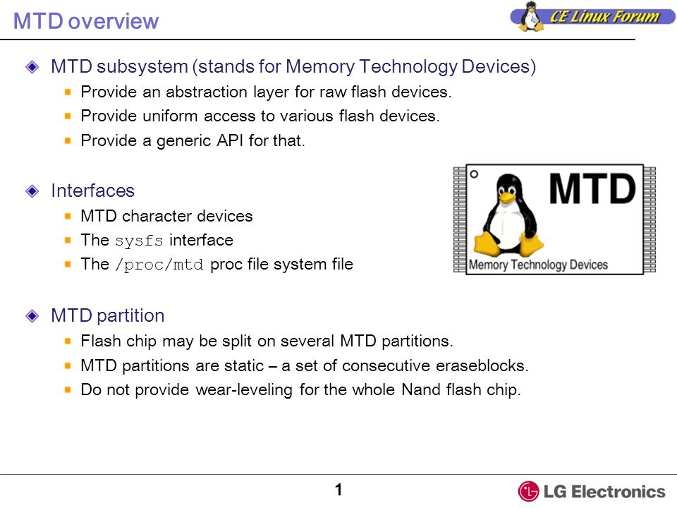 MTD overview MTD subsystem (stands for Memory Technology