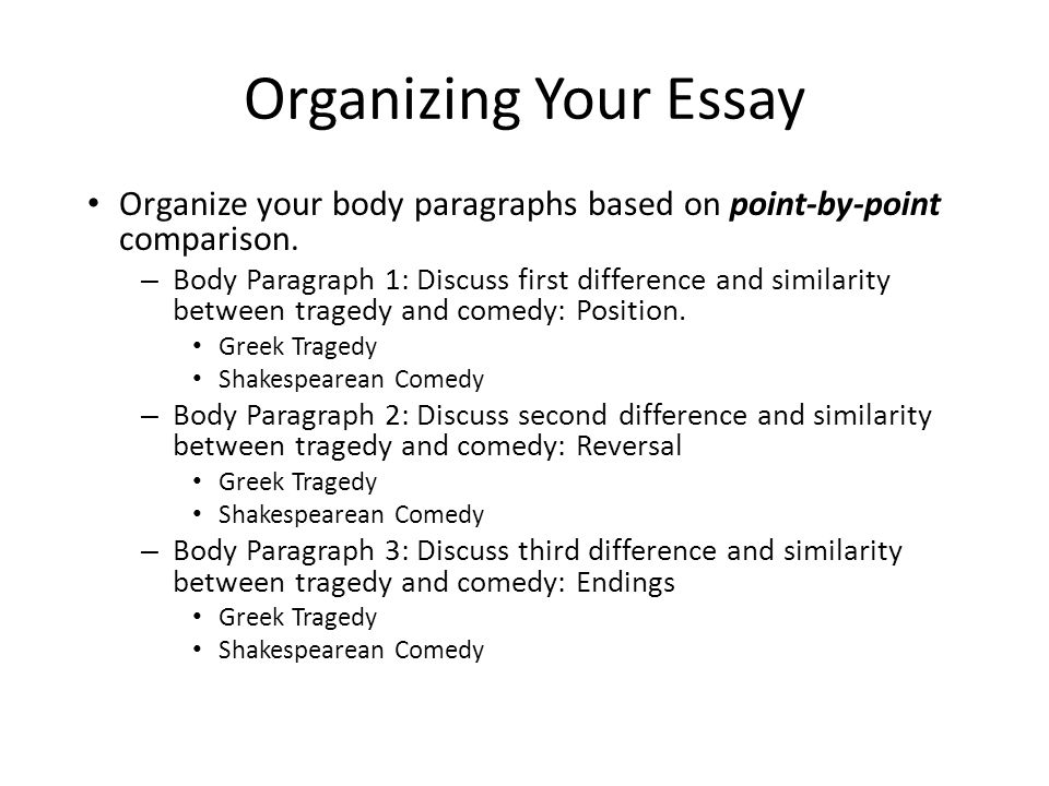 Personal Essay Examples High School Organizing Your Essay Organize Your Body Paragraphs Based On Pointbypoint  Comparison English Model Essays also Number 1 Research Writing Company Compare And Contrast Essay  Ppt Video Online Download Science Development Essay
