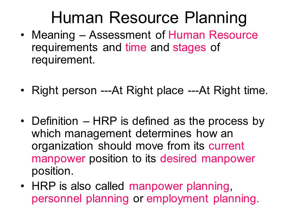 resource planning meaning