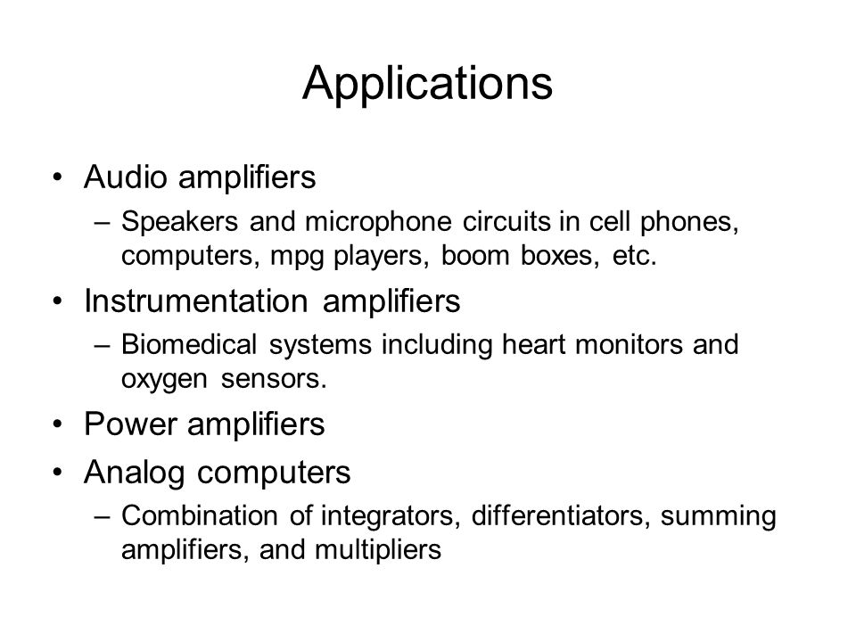 Amplifier Applications