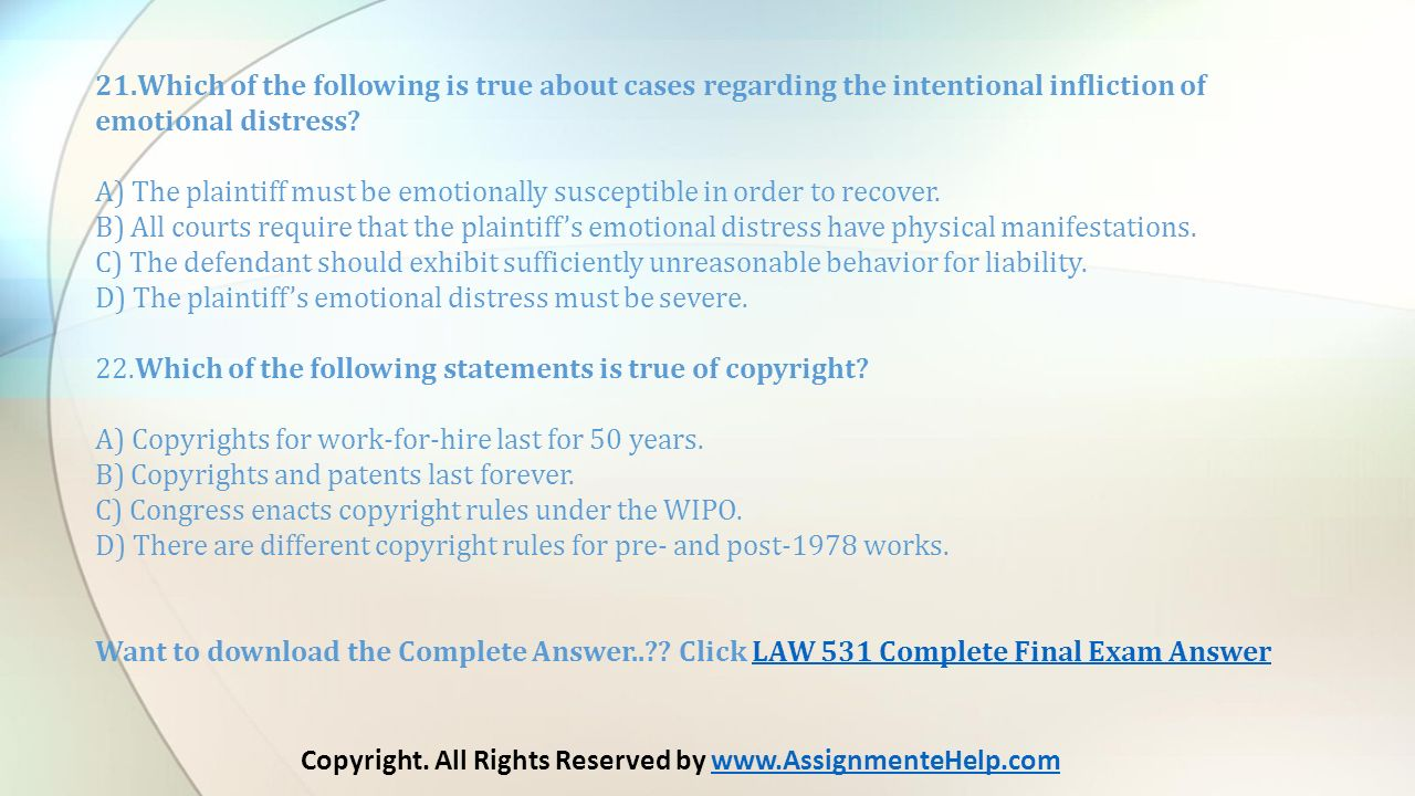 LAW 531 Final Exam By Copyright  All Rights Reserved by