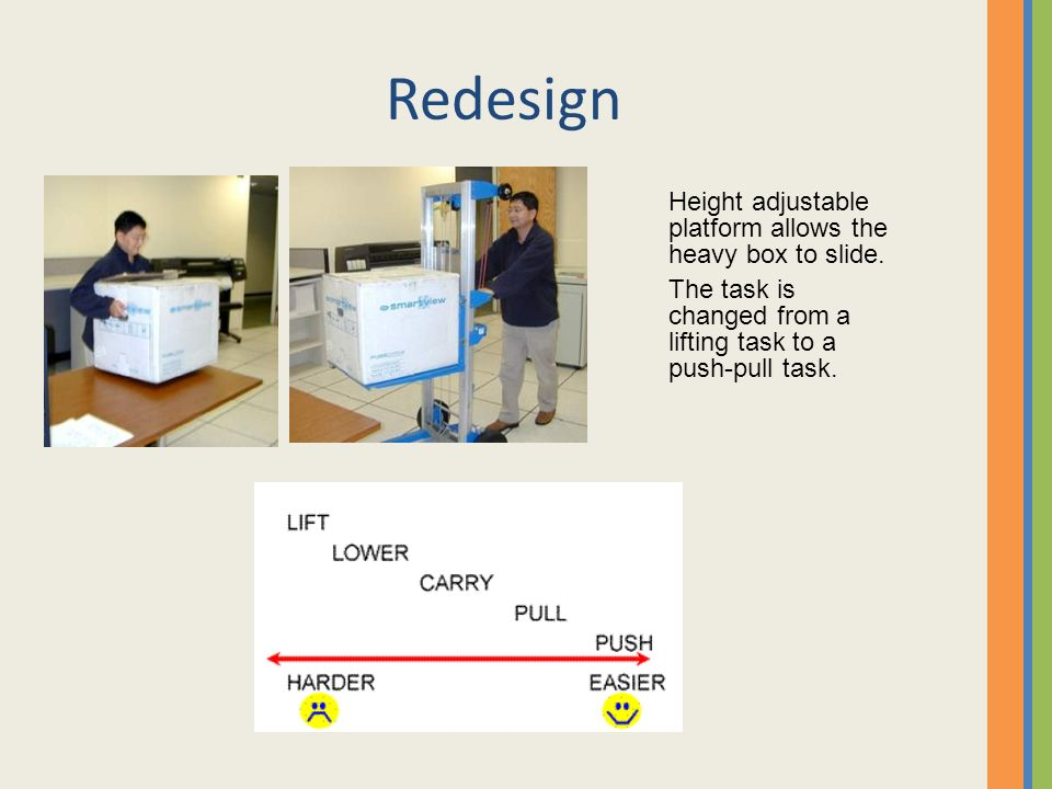 Redesign Height adjustable platform allows the heavy box to slide.