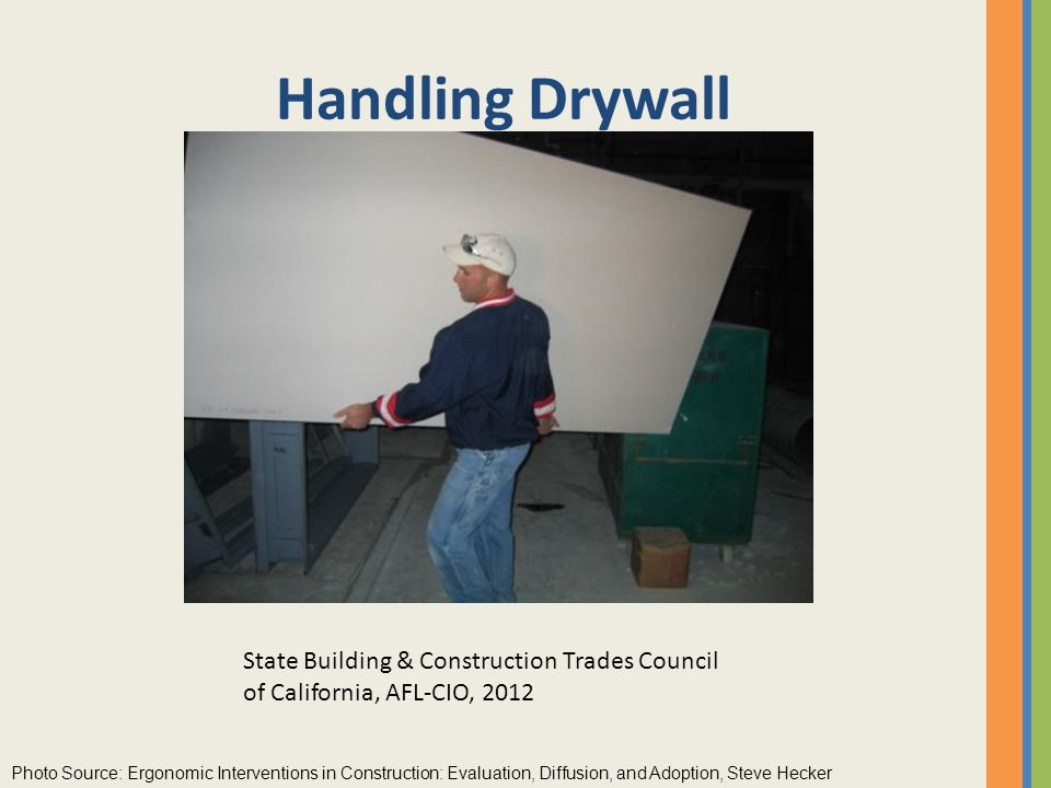 Handling Drywall After small groups have met for 15 minutes, bring them back together to report on their task. Continue with handling drywall.