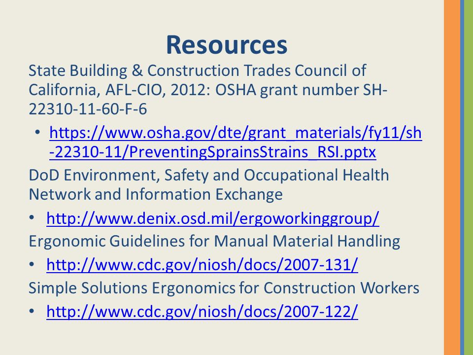 Resources State Building & Construction Trades Council of California, AFL-CIO, 2012: OSHA grant number SH-22310-11-60-F-6.