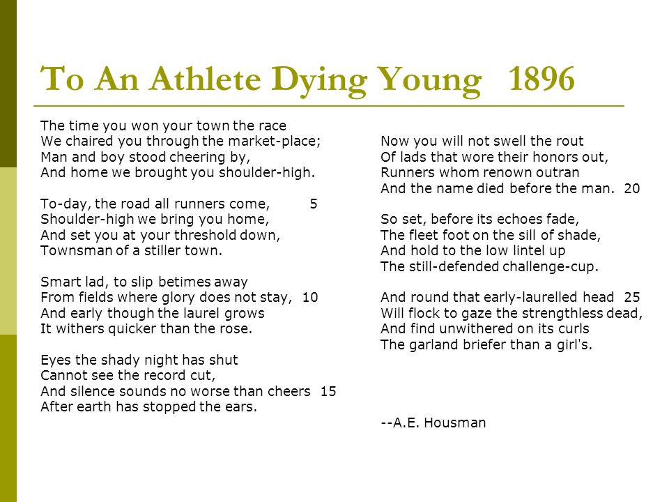 the poem to an athlete dying young