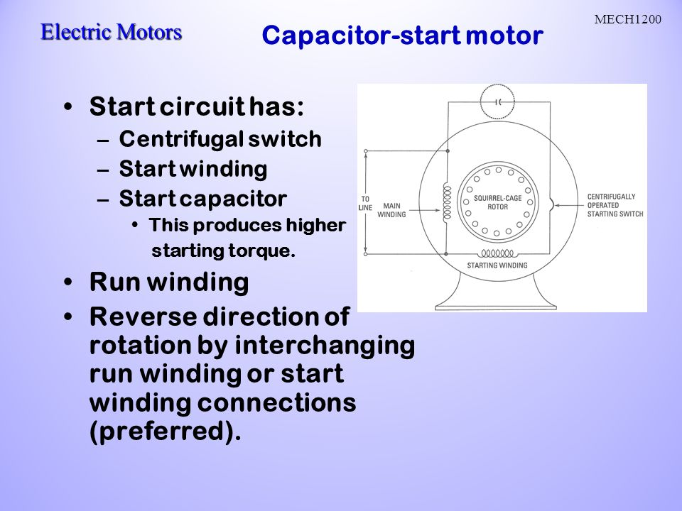 Ac motors ac current reverses direction two parts stator and rotor capacitor start motor ccuart Choice Image