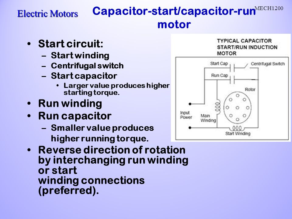 Ac motors ac current reverses direction two parts stator and rotor capacitor startcapacitor run motor ccuart Choice Image