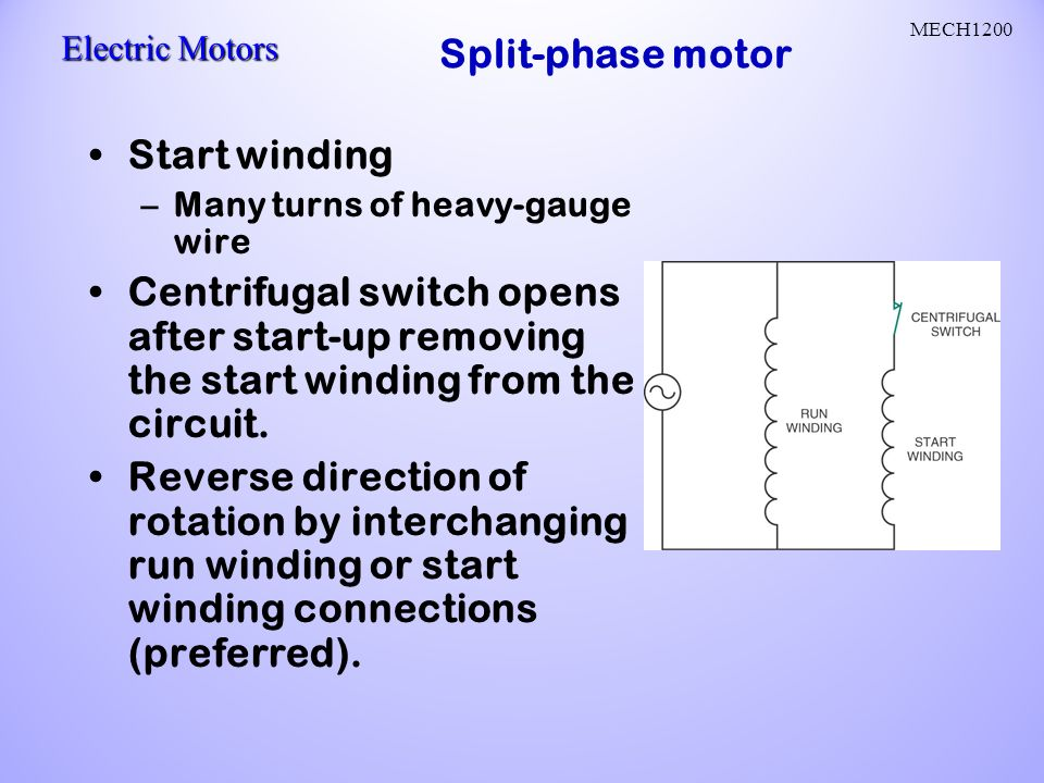 Ac motors ac current reverses direction two parts stator and rotor split phase motor start winding ccuart Choice Image