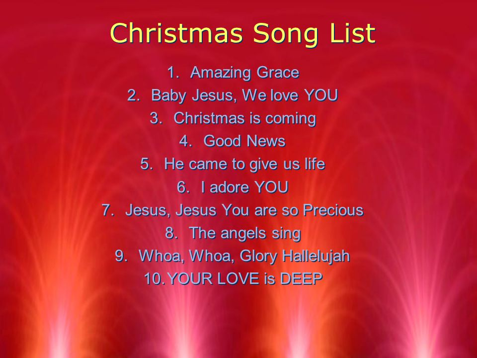 2 christmas song list amazing grace baby jesus