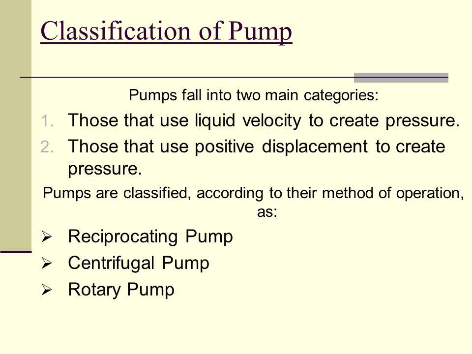 Pump Classification