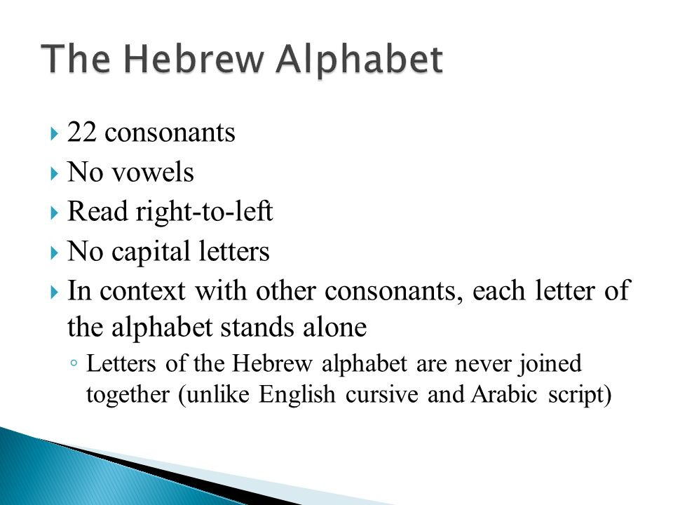 The Hebrew Alphabet: The Consonants - ppt video online download
