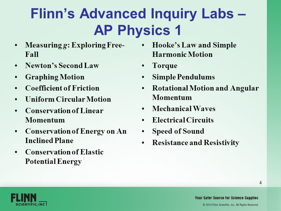 Welcome! Flinn Scientific Advanced Inquiry Labs for AP
