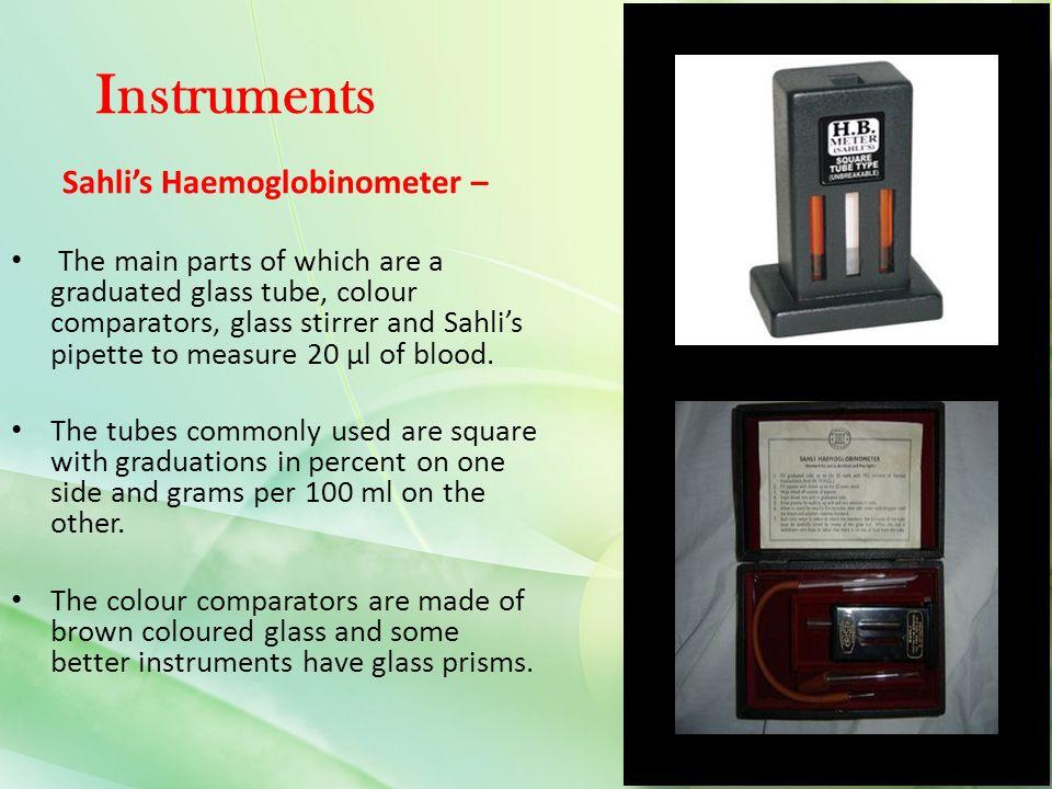 haemoglobin test sahlis method