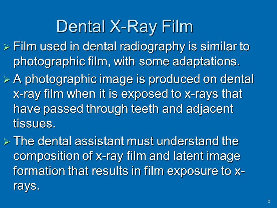 Dental x ray film processing.