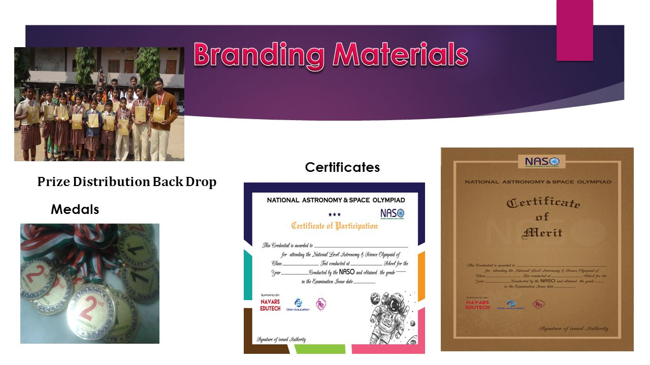 Branding Materials Certificates Prize Distribution Back Drop Medals