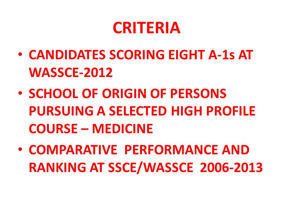CRITERIA CANDIDATES SCORING EIGHT A-1s AT WASSCE-2012